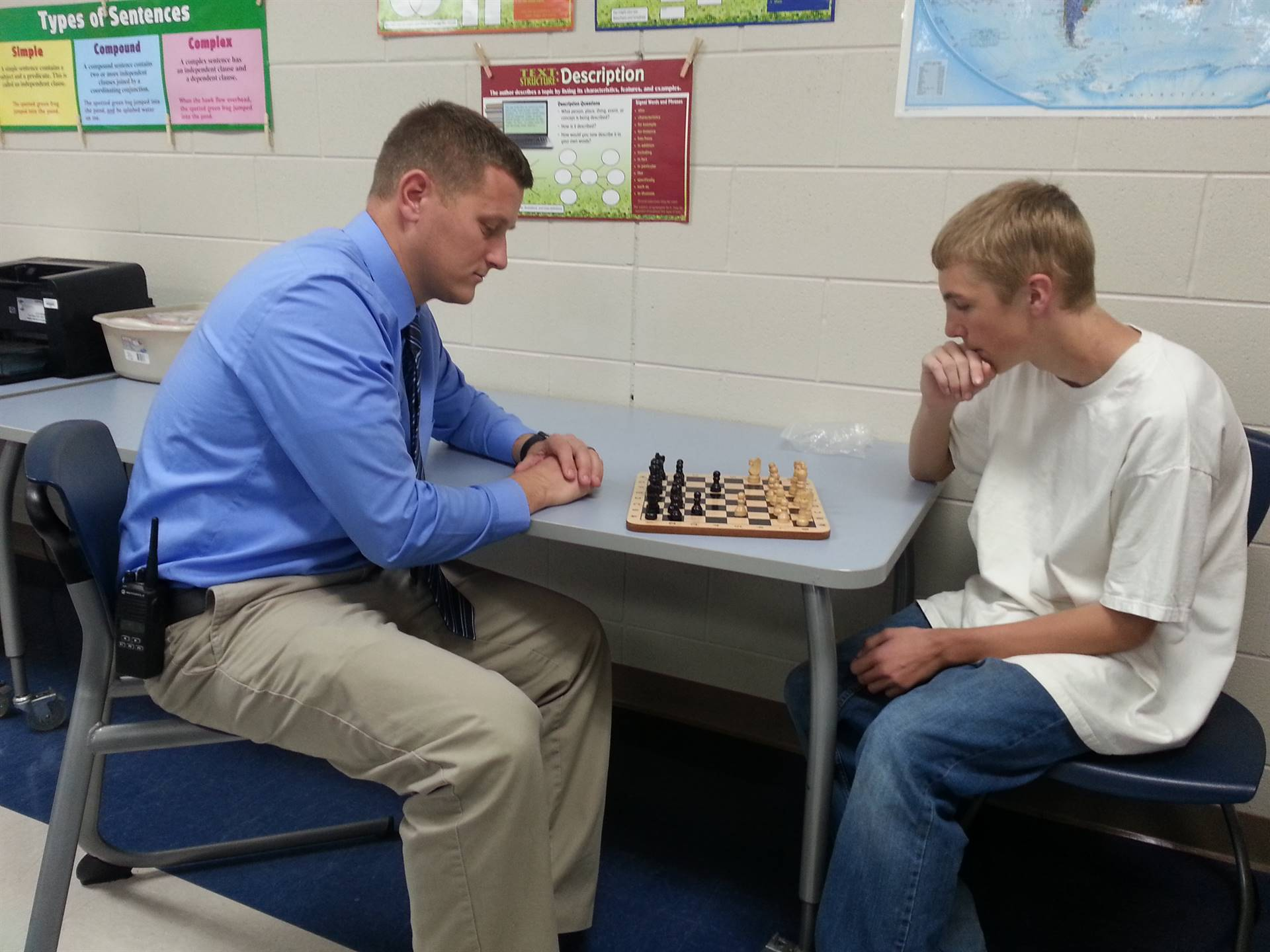 Cam playing Mr. Michael in chess