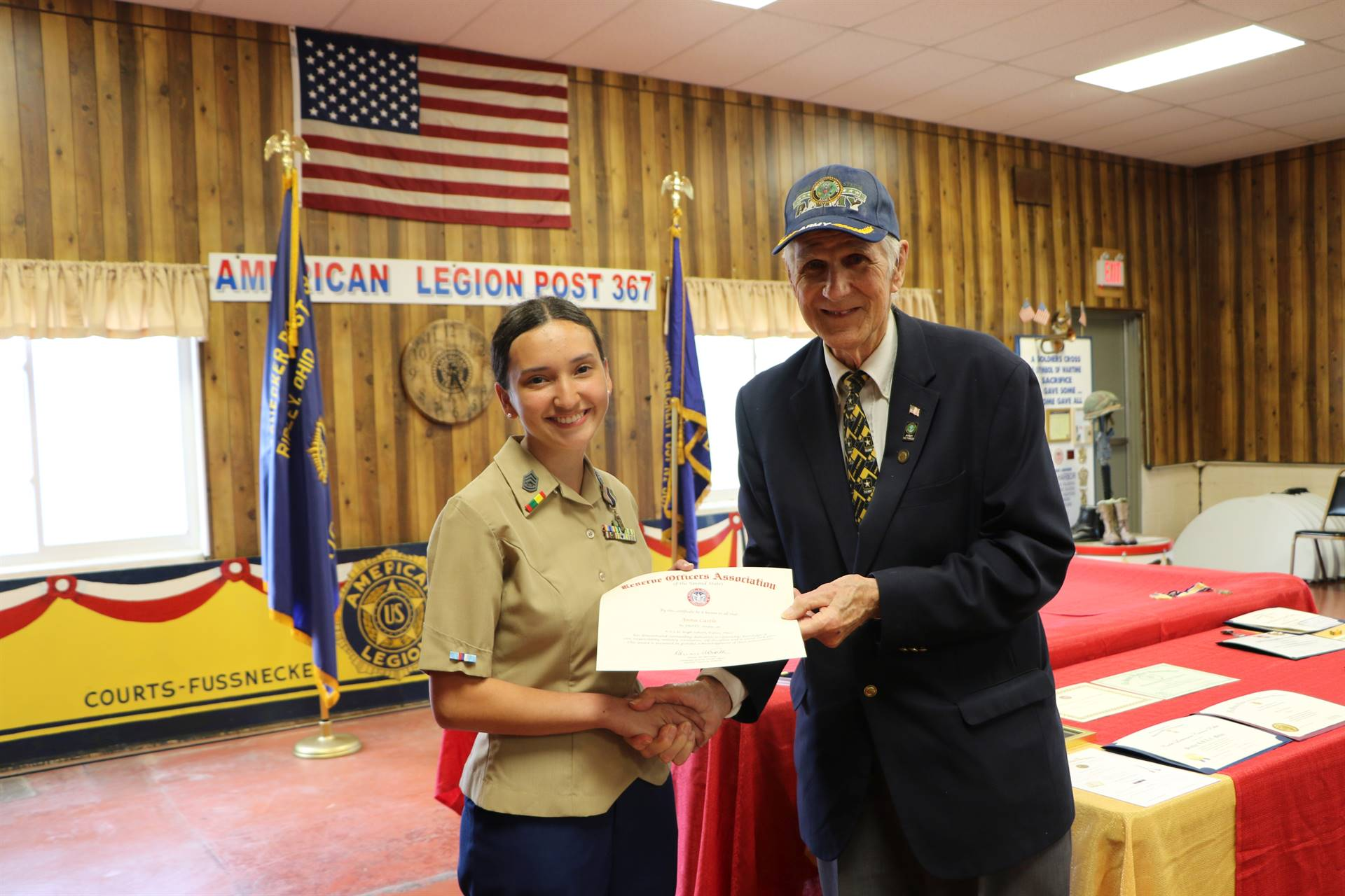 Cadet Anna Castle receives the Reserve Officers of America Award