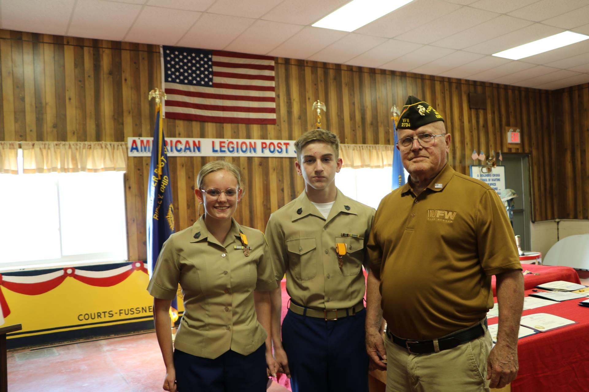 Cadets Breanna Blum and Colin Pollitt receive the VFW Leadership Award