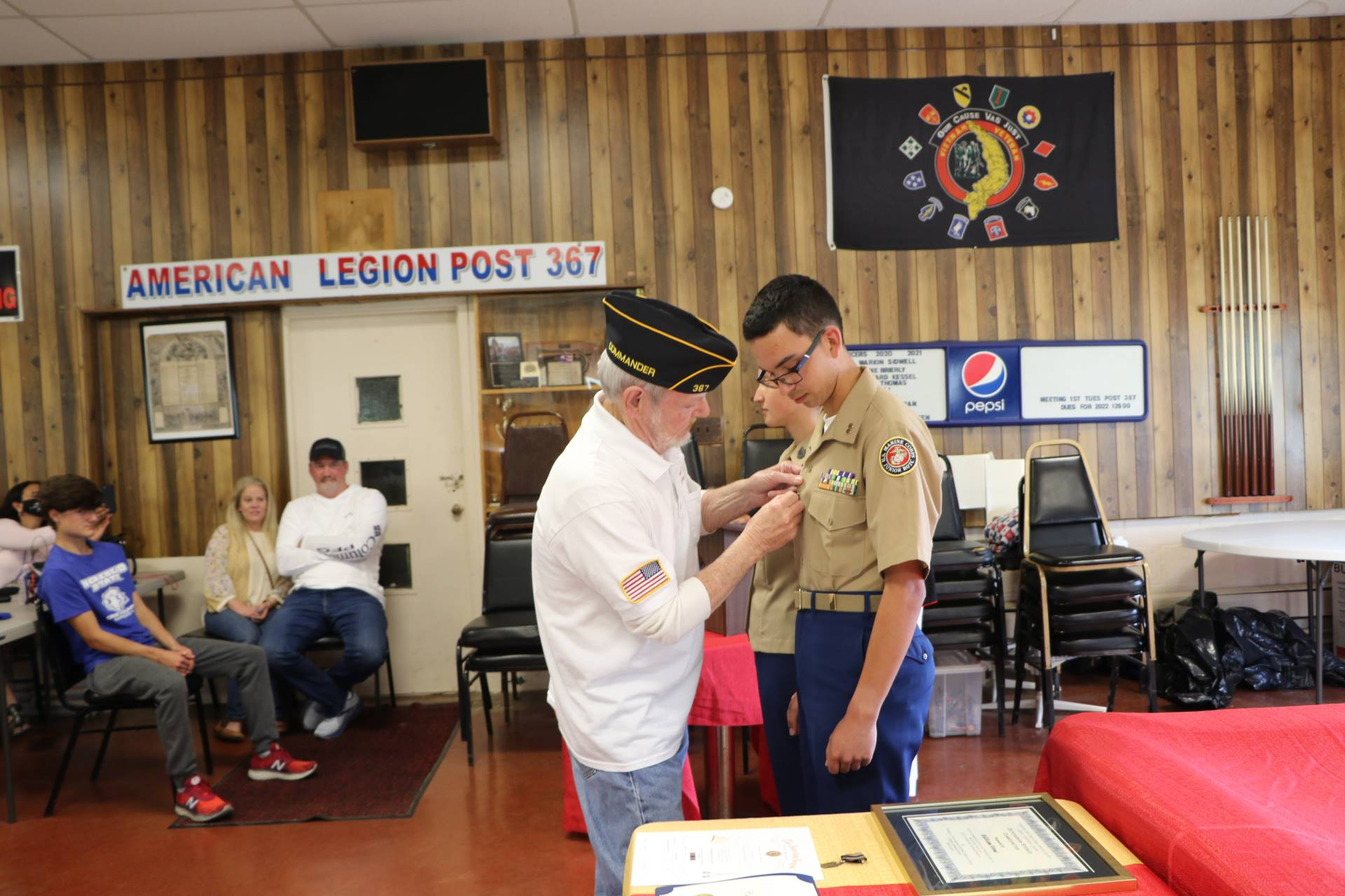 Cadet Joseph Castle receives the American Legion Scholastic Award