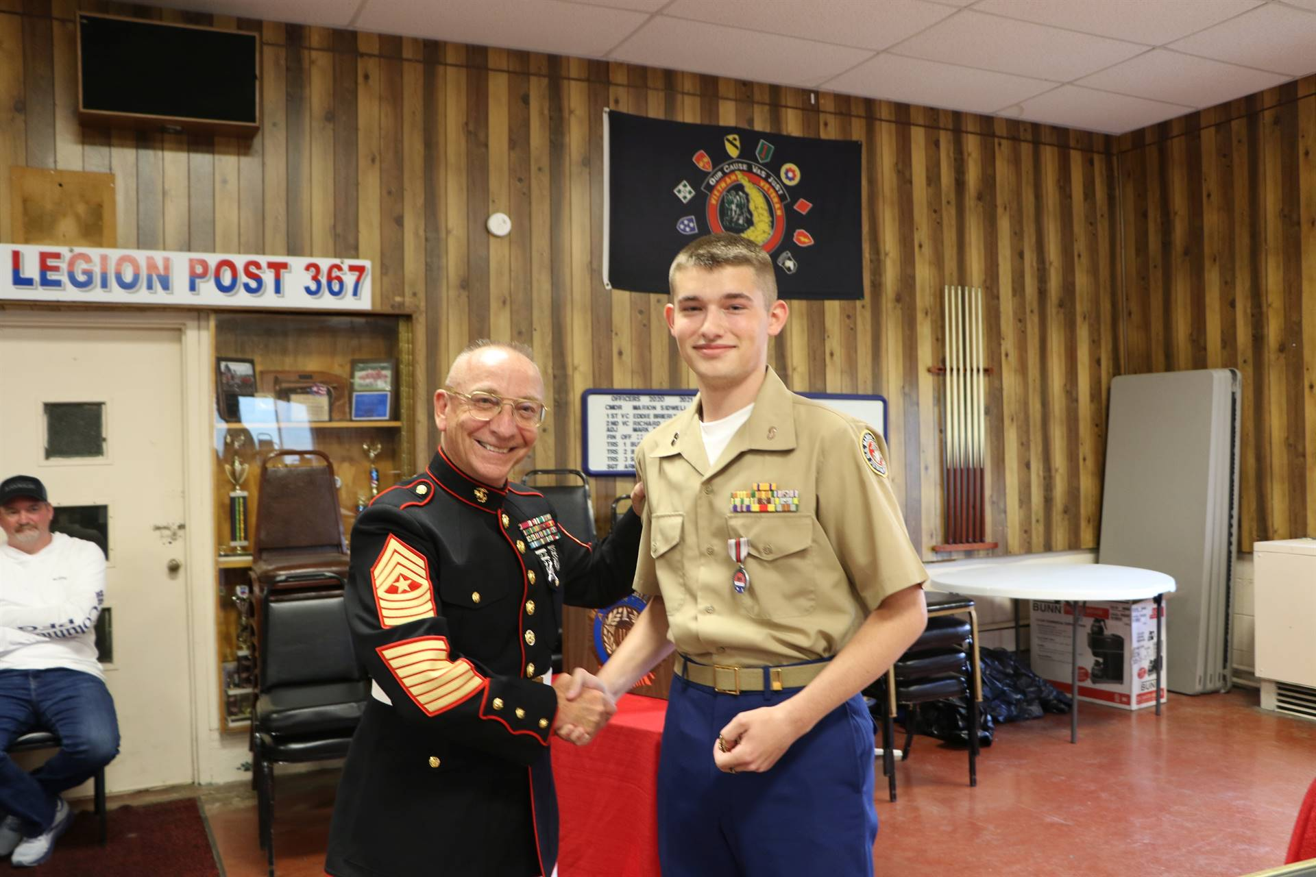 Cadet Timothy Scarberry receives the American Veteran's Award